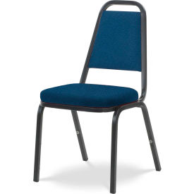 Virco® 8925 Crowned Seat Straight Back Stack Chair Black Frame/Blue Fabric - Pkg Qty 4
