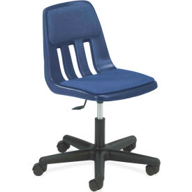 Virco® 9260p Computer Chair W/ Casters And Padding, Blue With Chrome Frame - Pkg Qty 2
