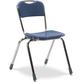 Virco® N316 Telos® Stacking Chair, Blue With Chrome Frame - Pkg Qty 4