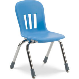 """Virco® N912 The Metaphor® Stacking Chair 12"""", Blue With Chrome - Pkg Qty 5"""