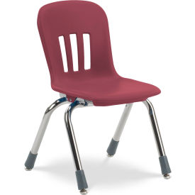 "Virco® N912 The Metaphor® Stacking Chair 12"", Wine with Chrome"