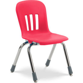 """Virco® N912 The Metaphor® Stacking Chair 12"""", Red With Chrome - Pkg Qty 5"""