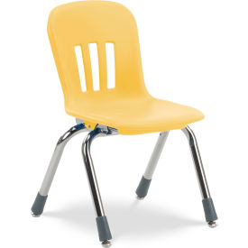 """Virco® N912 The Metaphor® Stacking Chair 12"""", Yellow With Chrome - Pkg Qty 5"""