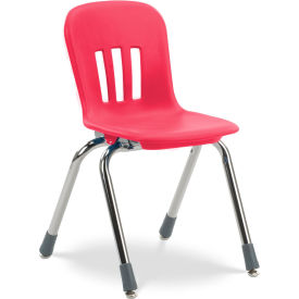 """Virco® N914 The Metaphor® Stacking Chair 14"""", Red With Chrome - Pkg Qty 5"""