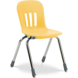 """Virco® N914 The Metaphor® Stacking Chair 14"""", Yellow With Chrome - Pkg Qty 5"""