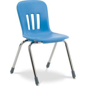 """Virco® N916 The Metaphor® Stacking Chair 16"""", Blue With Chrome - Pkg Qty 4"""