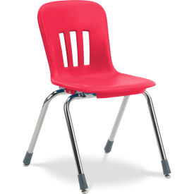 "Virco® N916 The Metaphor® Stacking Chair 16"", Red With Chrome - Pkg Qty 4"