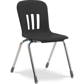 """Virco® N918 The Metaphor® Stacking Chair 18"""", Black With Chrome - Pkg Qty 4"""