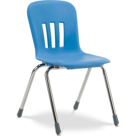 "Virco® N918 The Metaphor® Stacking Chair 18"", Blue With Chrome - Pkg Qty 4"