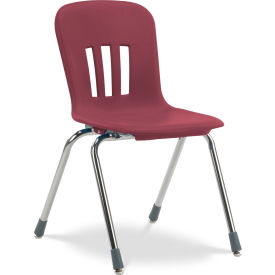 """Virco® N918 The Metaphor® Stacking Chair 18"""", Wine With Chrome - Pkg Qty 4"""