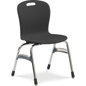 "Virco® SG418 The Sage™ 4 Leg Stacking Chair 18"", Black with Chrome"