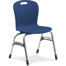 "Virco® SG418 The Sage™ 4 Leg Stacking Chair 18"", Navy with Chrome"