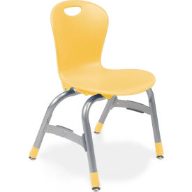 """Virco® Zu413 The Zuma® Stacking Chair 13"""", Yellow With Chrome - Pkg Qty 5"""