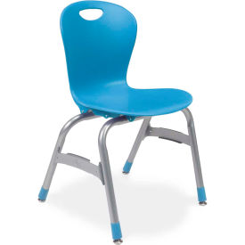 "Virco® Zu415 The Zuma® Stacking Chair 15"", Blue With Chrome - Pkg Qty 5"