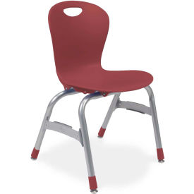 """Virco® Zu415 The Zuma® Stacking Chair 15"""", Wine With Chrome - Pkg Qty 5"""