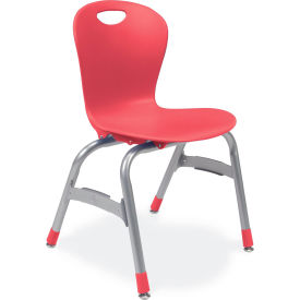 "Virco® Zu415 The Zuma® Stacking Chair 15"", Red With Chrome - Pkg Qty 5"