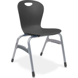 "Virco® Zu418 The Zuma® Stacking Chair 18"", Black With Chrome - Pkg Qty 4"