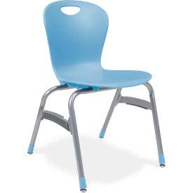 "Virco® Zu418 The Zuma® Stacking Chair 18"", Blue With Chrome - Pkg Qty 4"