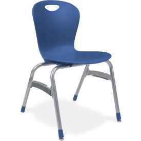 """Virco® Zu418 The Zuma® Stacking Chair 18"""", Navy With Chrome - Pkg Qty 4"""