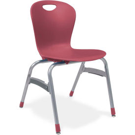 """Virco® Zu418 The Zuma® Stacking Chair 18"""", Wine With Chrome - Pkg Qty 4"""