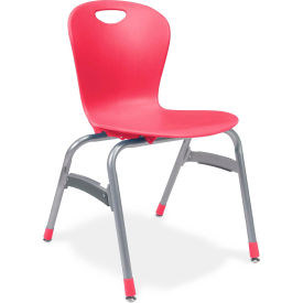 "Virco® Zu418 The Zuma® Stacking Chair 18"", Red With Chrome - Pkg Qty 4"
