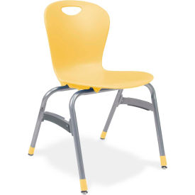 """Virco® Zu418 The Zuma® Stacking Chair 18"""", Yellow With Chrome - Pkg Qty 4"""
