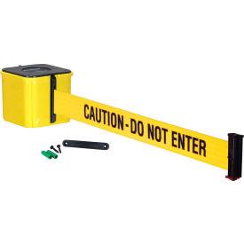 """Wall Mount Retracta-Belt® 4"""" Yellow, 30'L Yellow/Black Belt, """"CAUTION - DO NOT ENTER"""""""