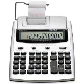 """Victor® 12-Digit Calculator, 12123A, 2 Color Printing, 7-1/4"""" X 8-1/4"""" X 2-1/2"""", White"""