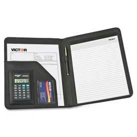 "Victor® Portfolio Pad Holder with 8-Digit Calculator, 9-1/2""W x 5/8""D x 12-1/2""H, Black"