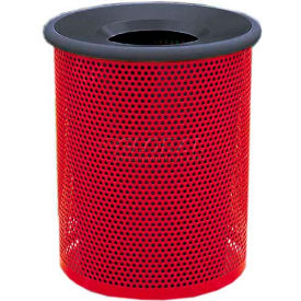 """Metal Waste Container W/Black Aluminum Funnel Lid, 22"""" Dia. X 28"""" Red"""