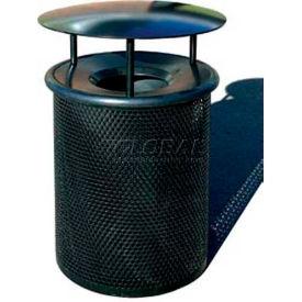 "Metal Waste Container W/Gray Aluminum Funnel Lid & Rain Hood - 22"" Dia. X 39"" Blue"