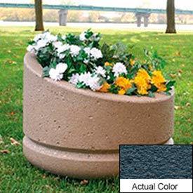 Wausau SL4011 Round Outdoor Planter - Weatherstone Charcoal 24x18