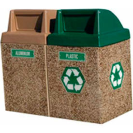 "Concrete 2-Bin Recycle Unit W/Brown Push Door Lid, 50"" X 25"" X 46"" Gray/Tan, Trash/Plastic"