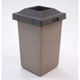 """Concrete Waste Receptacle W/Red Pitch In Lid, 20"""" X 20"""" Tan"""