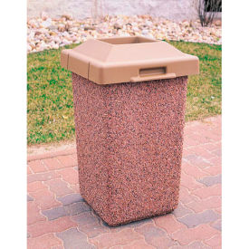 """Concrete Waste Receptacle W/Brown Pitch In Lid, 20"""" X 20"""" Tan"""