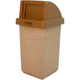 "Concrete Waste Receptacle W/Brown Push Door Lid, 20"" X 20"" Gray/Tan"