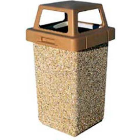 """Concrete Waste Receptacle W/Red 4 Way Top - 20"""" X 20"""" Gray/Tan"""