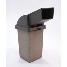"Concrete Waste Receptacle W/Red Drive Up Top - 20"" X 20"" Gray/Tan"