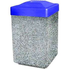 "Concrete Waste Receptacle W/Blue Plastic Pitch In Top - 25"" X 25"" Gray/Tan"