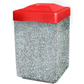 """Concrete Waste Receptacle W/Red Plastic Pitch In Top - 25"""" X 25"""" Gray/Tan"""