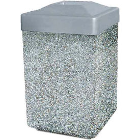 """Concrete Waste Receptacle W/Gray Plastic Pitch In Top - 25"""" X 25"""" Gray/Tan"""