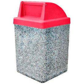 "Concrete Waste Receptacle W/Red Push Door Top - 25"" X 25"" Gray/Tan"