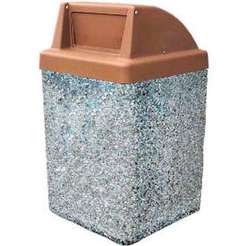 "Concrete Waste Receptacle W/Brown Push Door Top - 25"" X 25"" Gray/Tan"