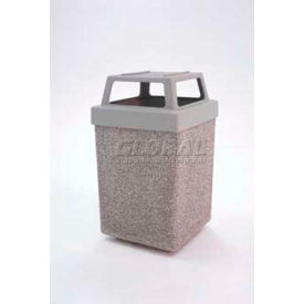 """Concrete Waste Receptacle W/Red Plastic 4 Way Top - 25"""" X 25"""" Gray/Tan"""