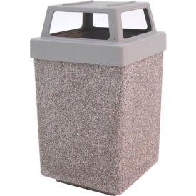 "Concrete Waste Receptacle W/Gray Plastic 4 Way Top - 25"" X 25"" Gray/Tan"