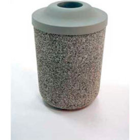 """Concrete Waste Receptacle W/Blue Pitch In Top - 24"""" Dia x 37"""" Sand"""
