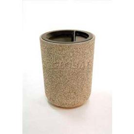 "Concrete Waste Receptacle W/Gray Aluminum Ash N Trash Top - 24"" Dia x 33"" Sand"