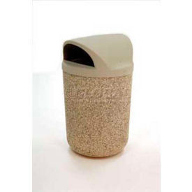 """Concrete Waste Receptacle W/Red Plastic Dome Top Lid, 24"""" Dia x 44"""" Sand"""