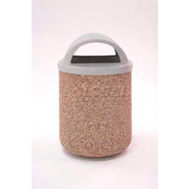 """Concrete Waste Receptacle W/Red Plastic Pitch In Top - 26"""" Dia x 37"""" Gray/Tan"""