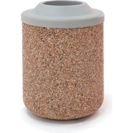 """Concrete Waste Receptacle W/Gray Plastic Pitch In Top - 26"""" Dia x 37"""" Gray/Tan"""